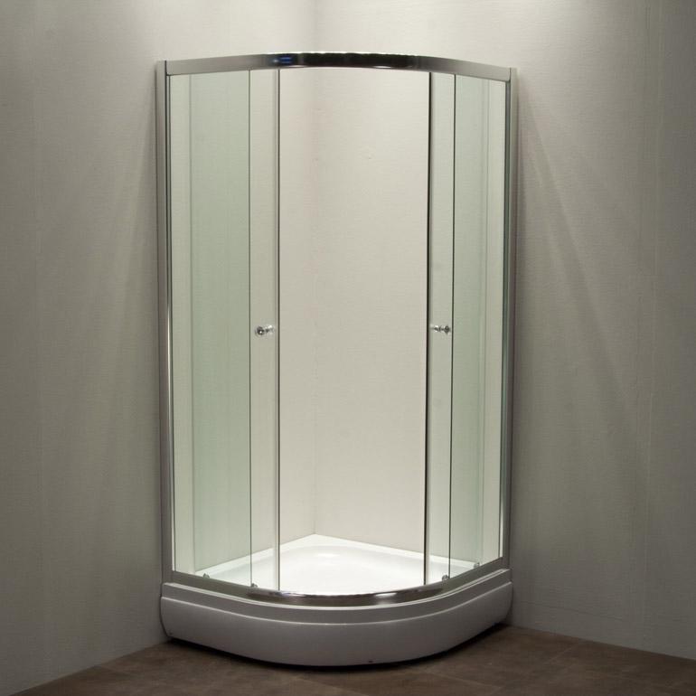 All cabina box doccia semicircolare trasparente for Box doccia angolare 90x90
