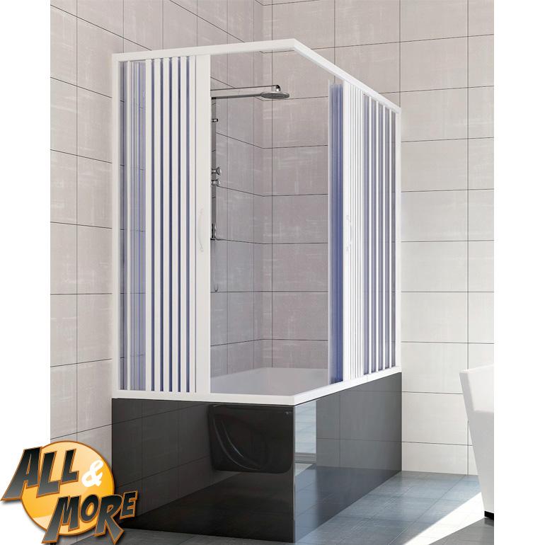 All&More.it - Box cabina doccia angolare per vasca in PVC con apertura centrale 70x150