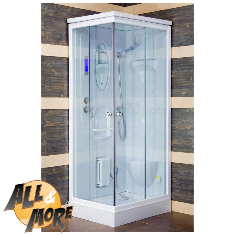 All&More.it - Cabina box doccia idromassaggio con sauna 150x85x220 e tetto