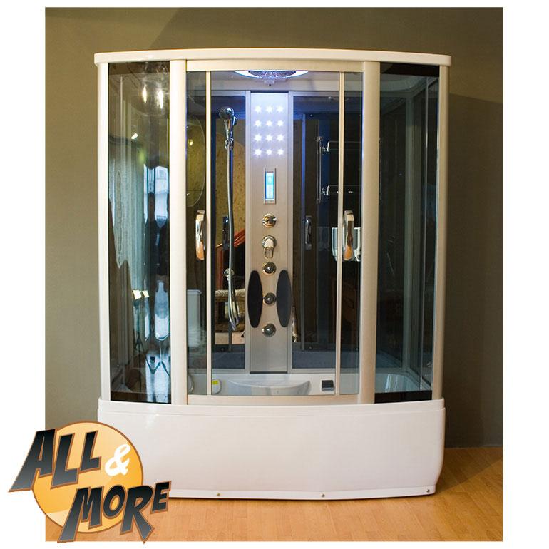 All cabina box doccia con sauna full optional 170x85 for Bricoman termoarredo